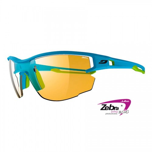 Julbo AERO Glasses blue/green with Zebra photocromic lenses