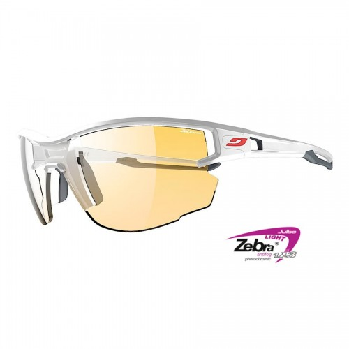 Julbo AERO Glasses white/grey with Zebra photocromic lenses
